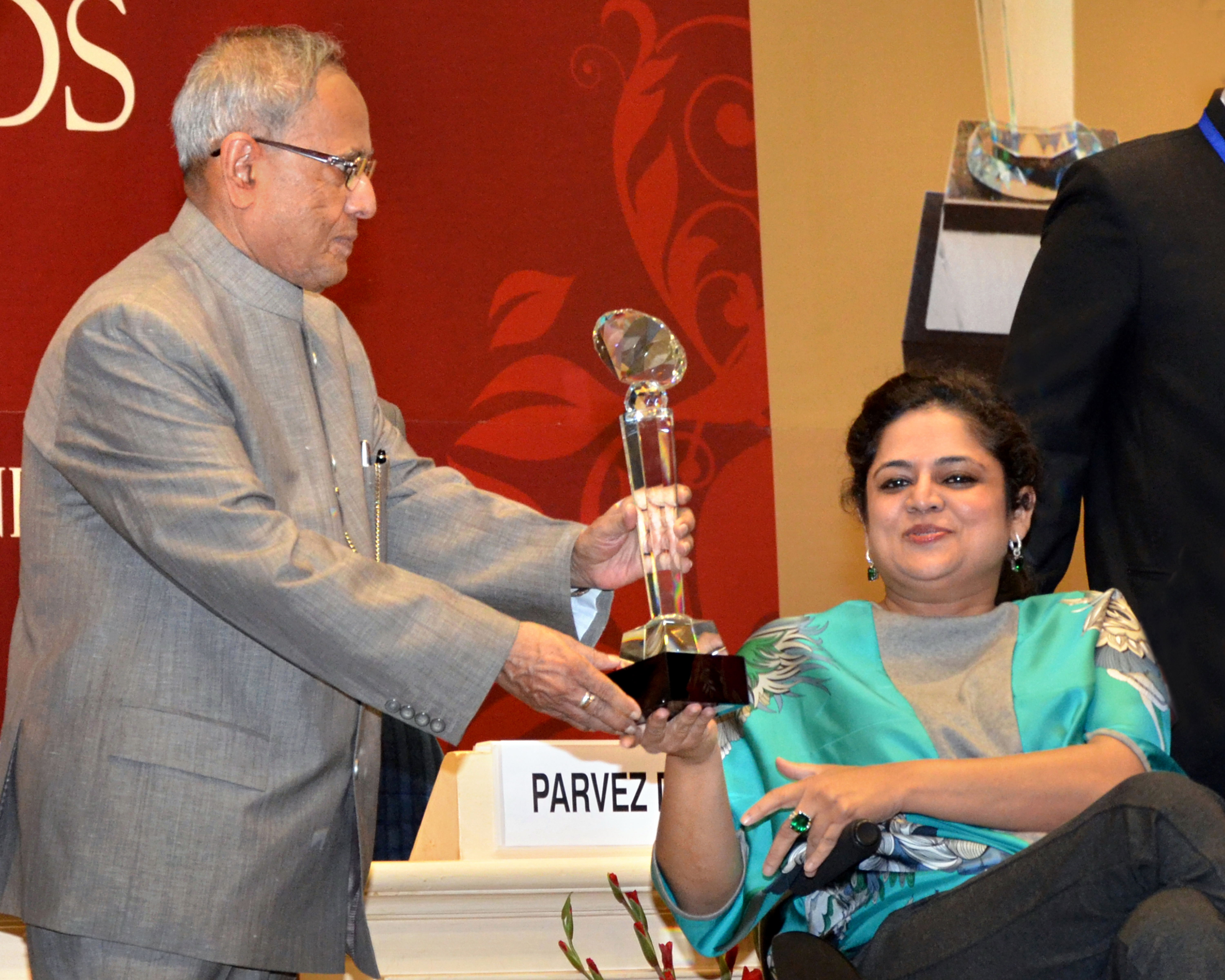 Image- President of India giving away the award to Ms. Jindal, Founder Svayam