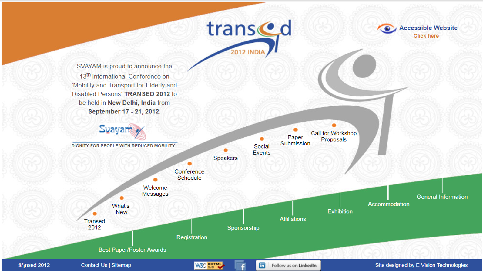 Hyperlinked image of TRANSED 2012 India website homepage