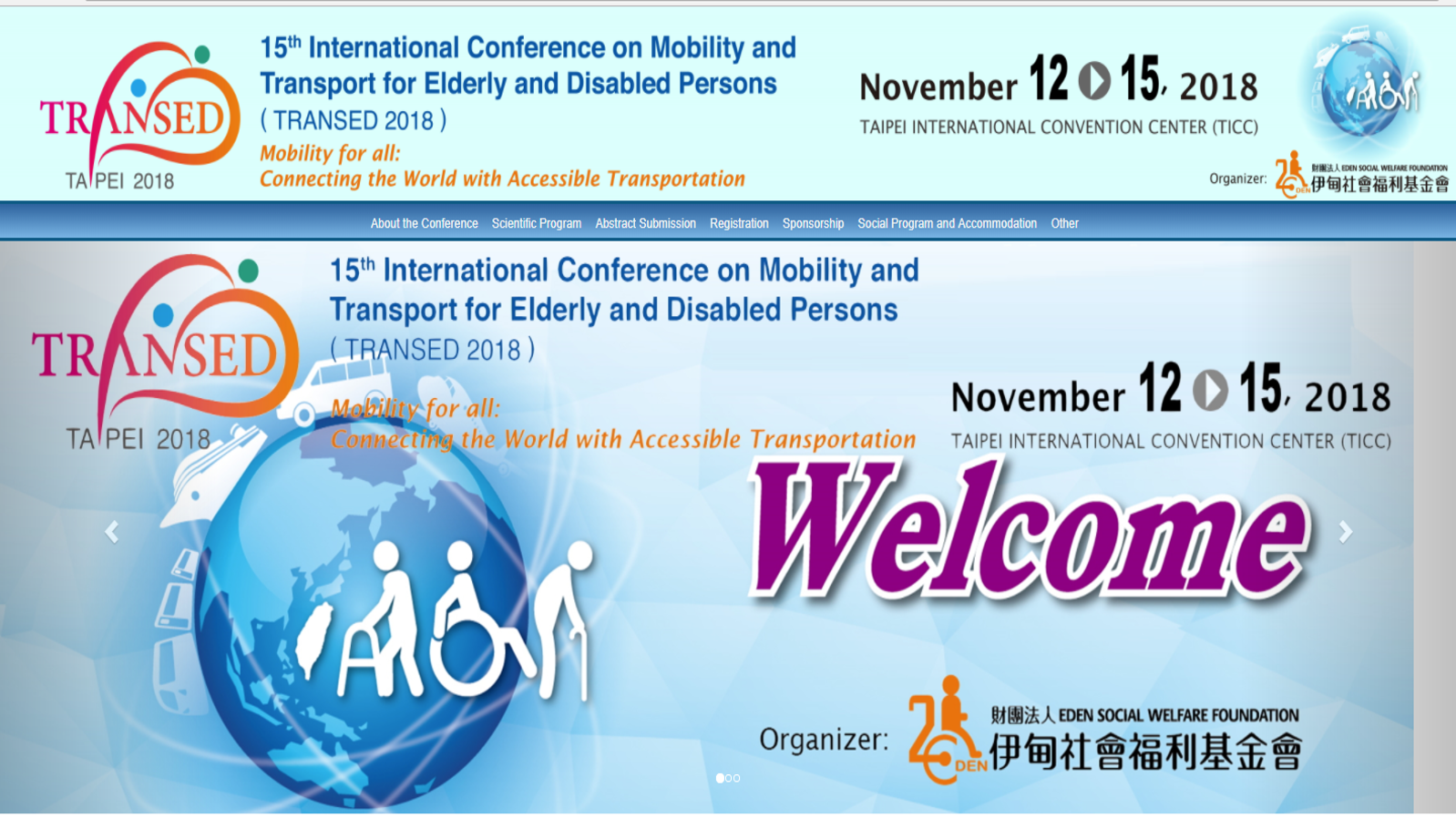 Image of TRANSED 2018 Conference website homepage with a hyperlink