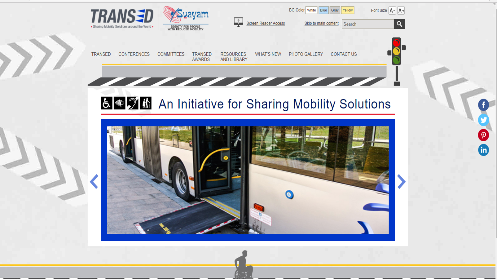 Image of HomePage of TRANSED Conferences website