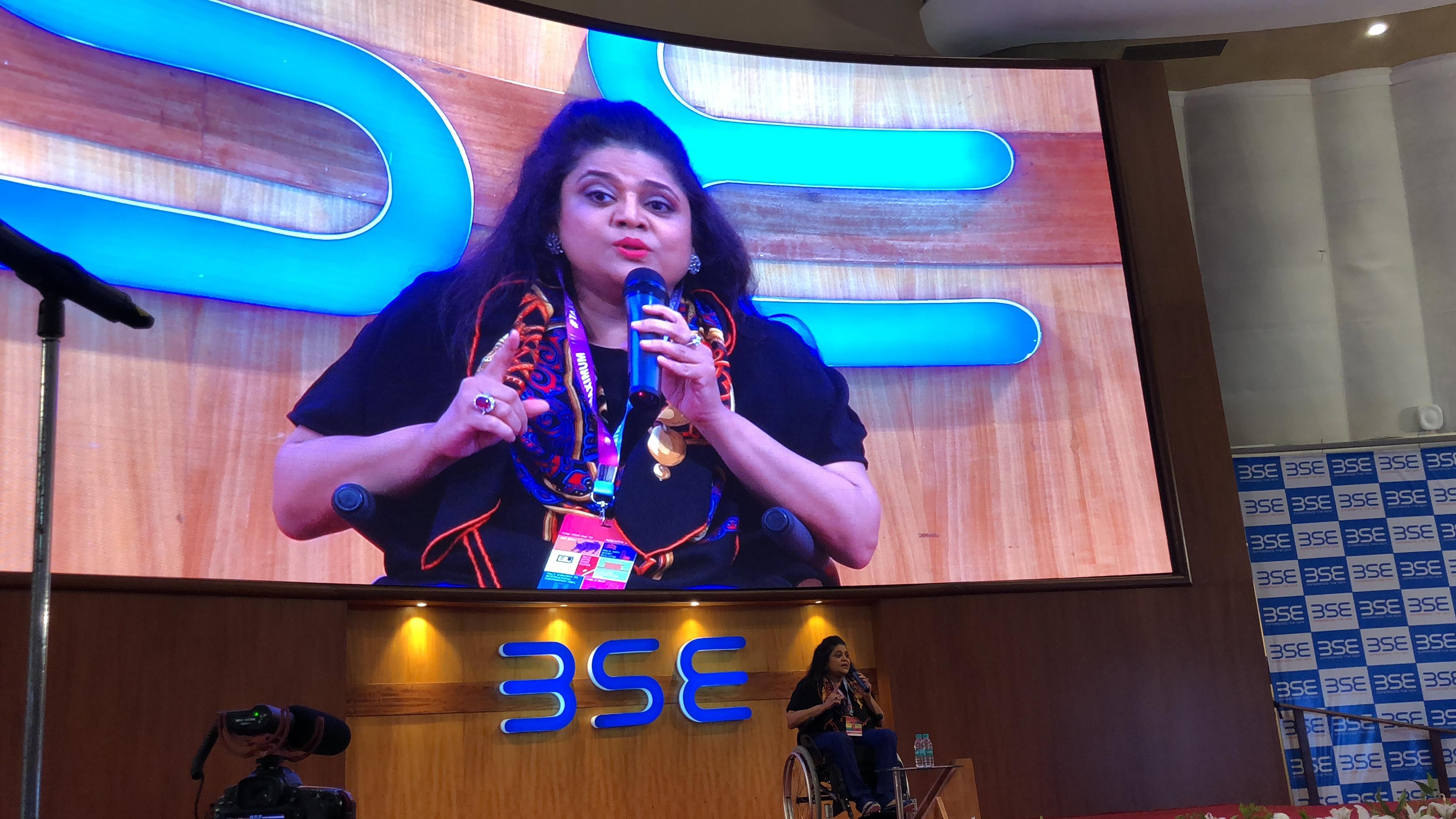 Ms. Sminu Jindal, Founder Svayam addressing CII-Yi: Annual Youth Summit – TakePride 2018, Mumbai